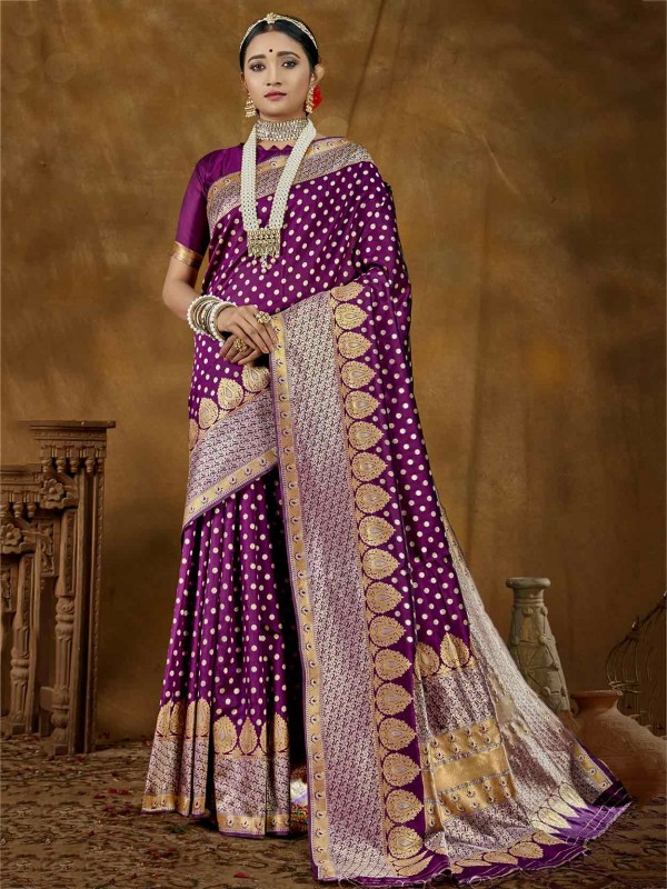 Purple Colour Silk Party Wear Saree.