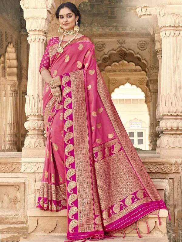 Pink Colour Silk Traditional Saree.