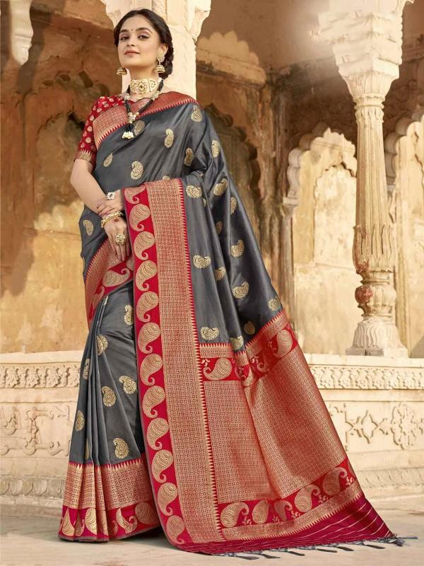 Grey,Red Colour Silk Women Saree.