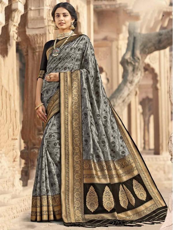 Grey,Black Colour Silk Party Wear Saree.