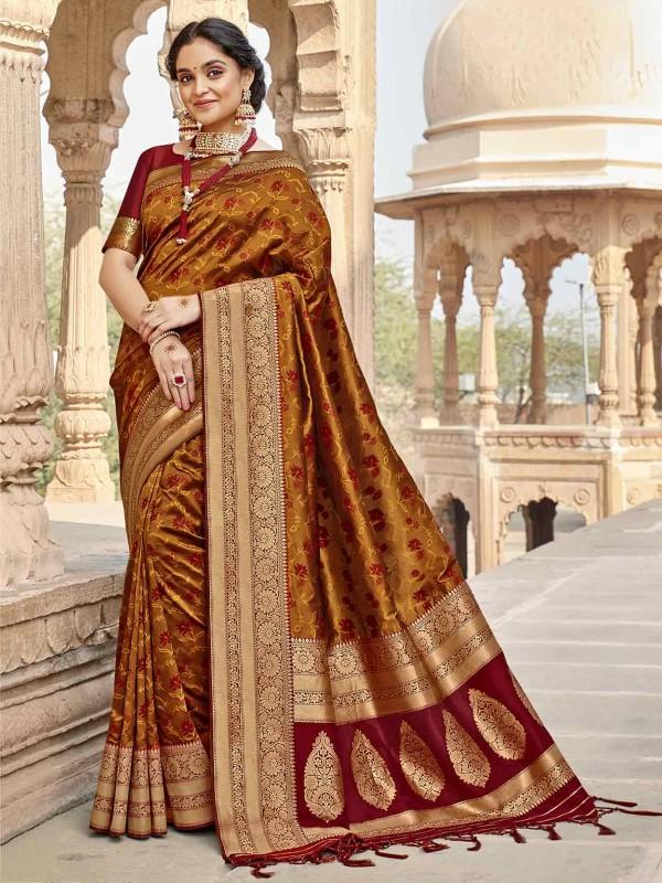 Brown,Golden Colour Silk Designer Saree.