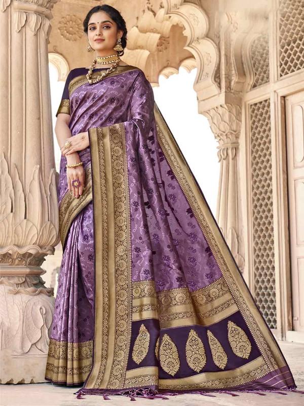 Purple Colour Silk Indian Women Saree.