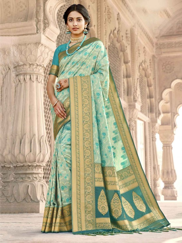 Sky Blue Colour Silk Women Saree.