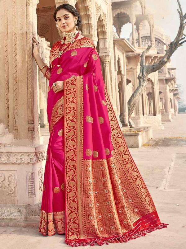 Pink Colour Silk Fabric Indian Wedding Saree.