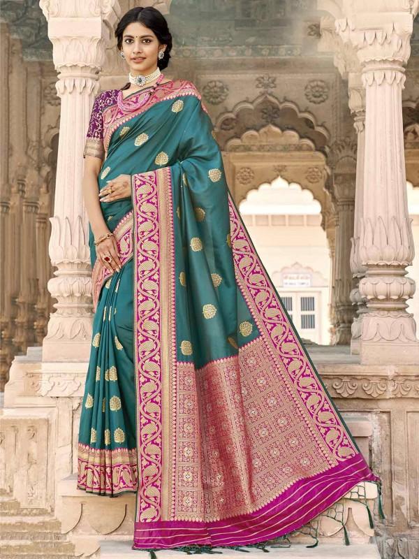 Rama Green Colour Silk Traditional Saree.
