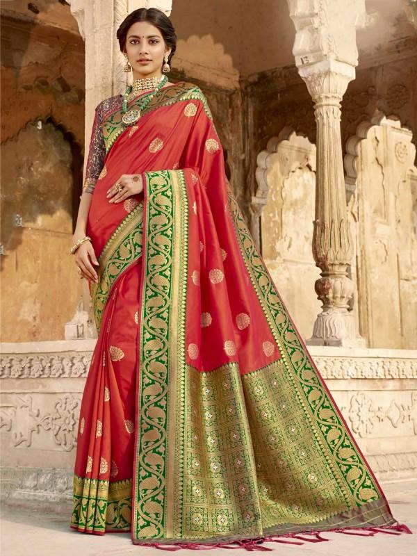 Silk Fabric Indian Wedding Saree Red Colour.