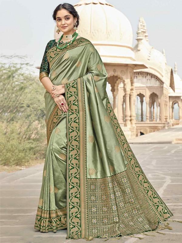 Green,Golden Colour Silk Women Saree.
