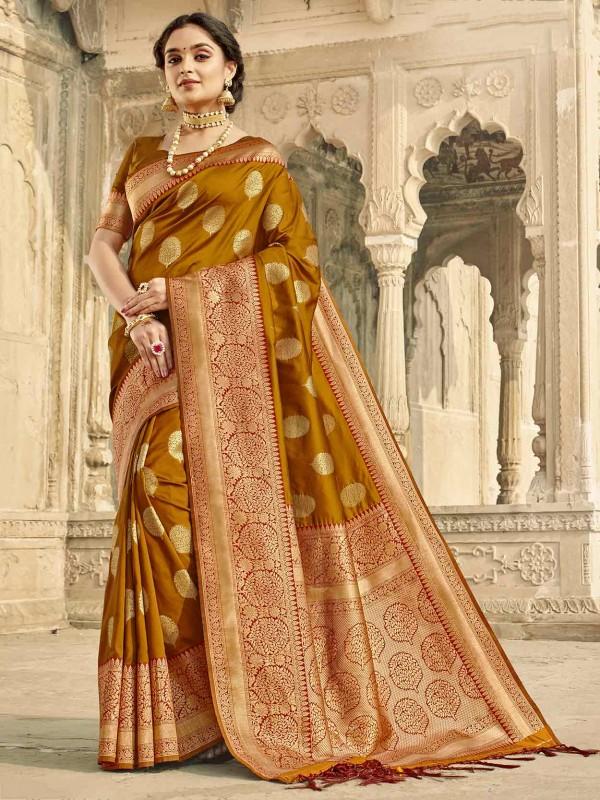 Beige,Golden Colour Silk Fabric Weaving Saree.