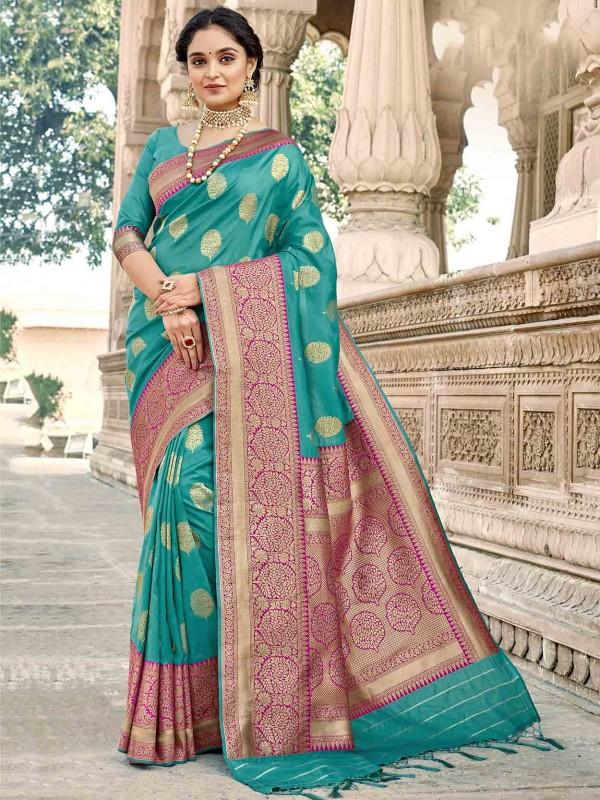Turquoise Colour Silk Saree.