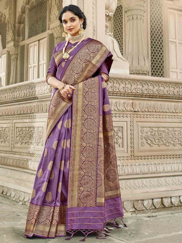 Purple Colour Silk Fabric Weaving Saree.