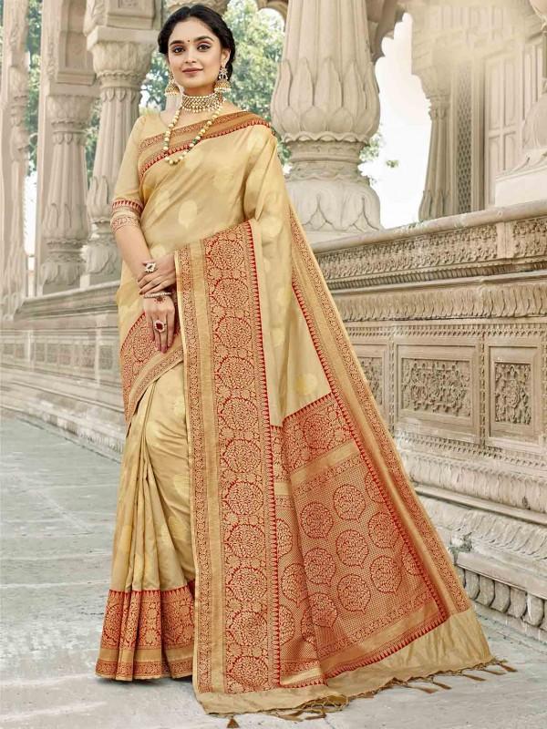 Cream Colour Silk Traditional Saree.