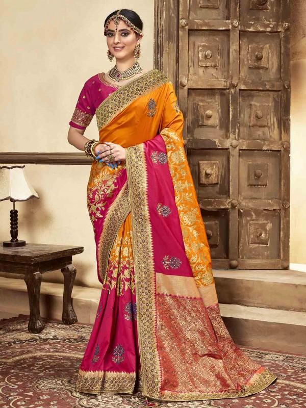 Orange,Red Colour Silk Designer Saree.