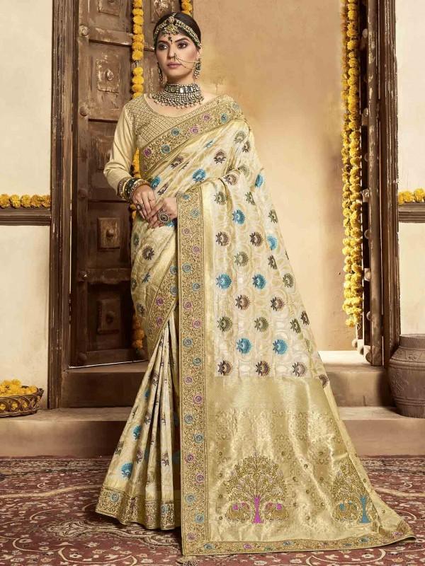 Cream Colour Silk Indian Designer Saree.