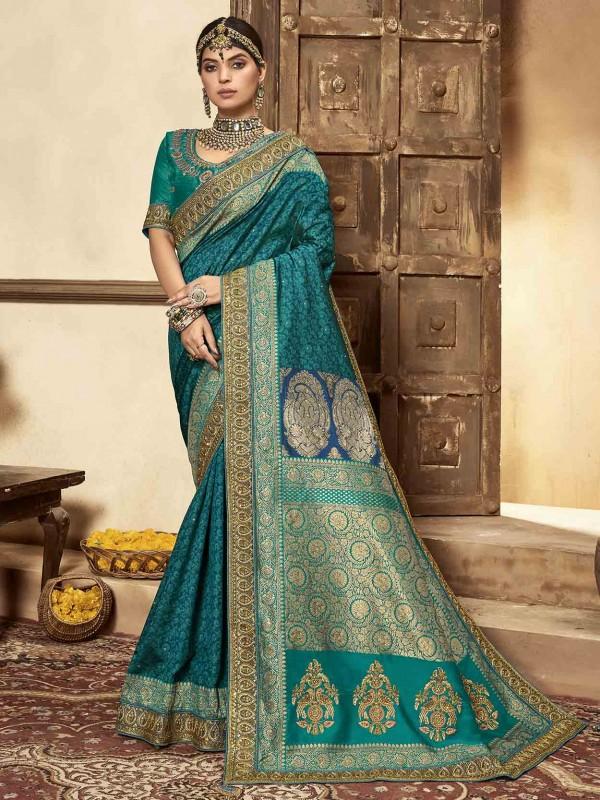 Rama Green Colour Silk Fabric Women Saree.