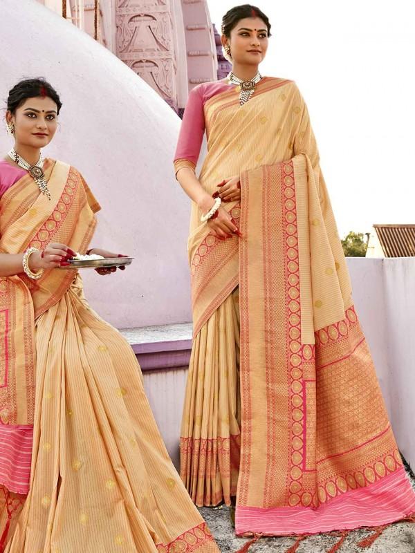 Cream Colour Silk Sarees.