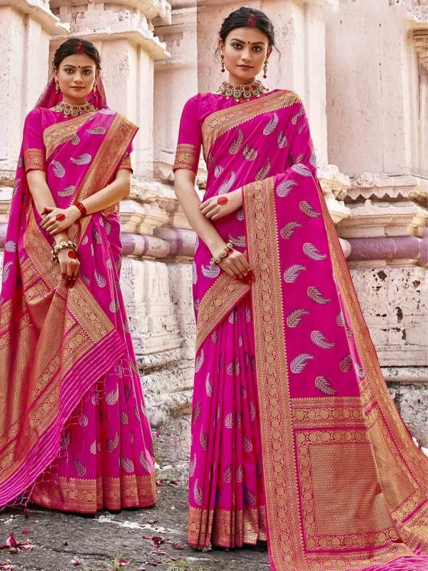 Beautiful Pink Colour Silk Fabric Traditional Saree.