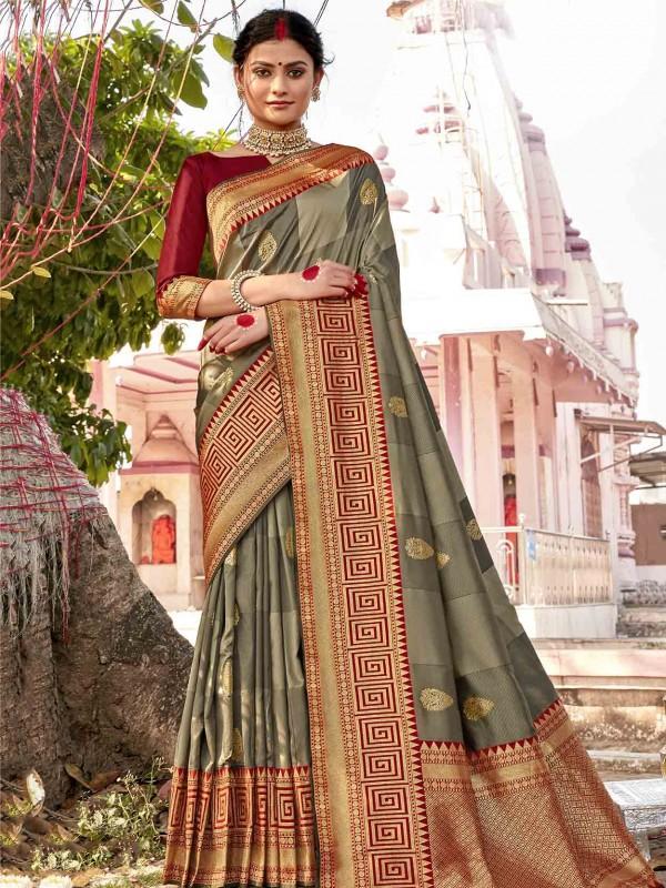 Silk Fabric Weaving Saree Grey Colour.