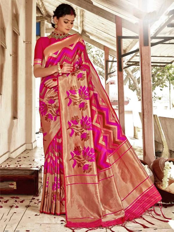 Golden,Pink Colour Silk Fabric Indian Traditional Saree.