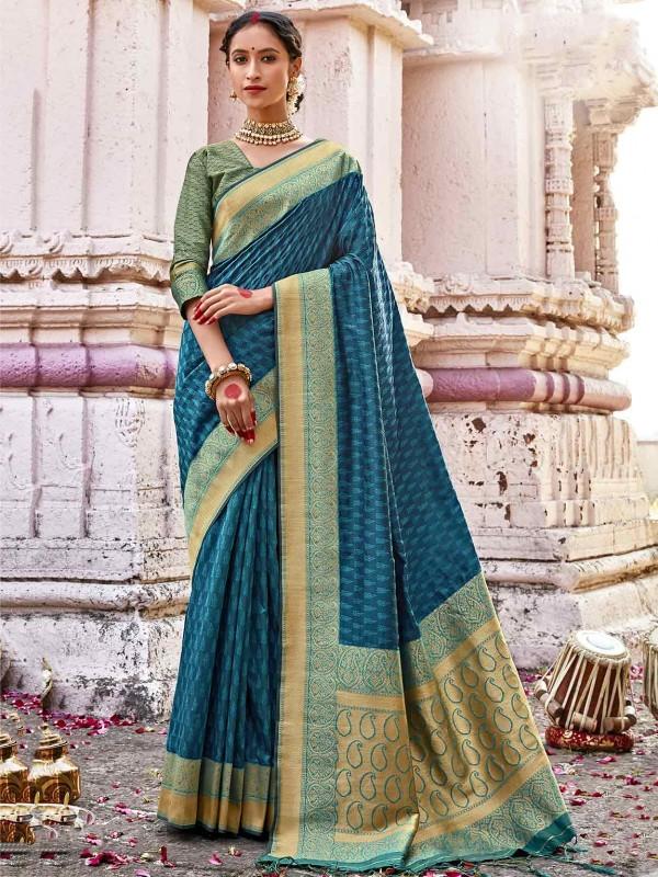 Blue Colour Silk Indian Saree.