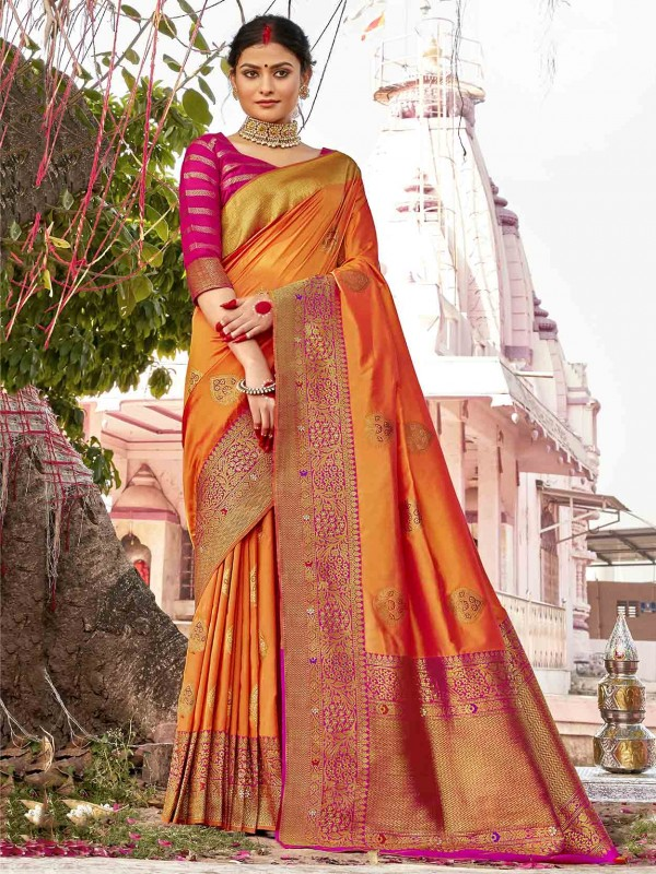 Orange Colour Silk Fabric Indian Wedding Saree.