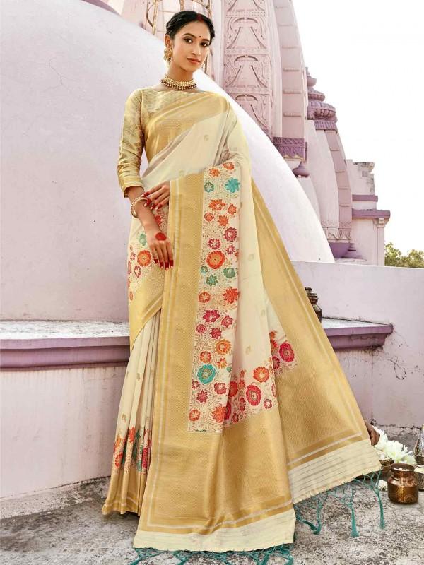 Off White Colour Silk Fabric Weaving Work Saree.