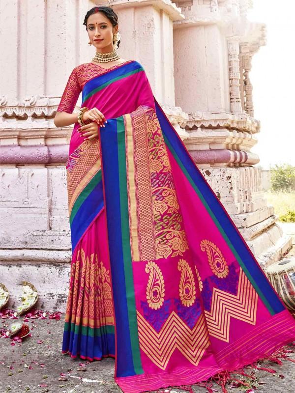 Pink Colour Silk Fabric Women Saree.