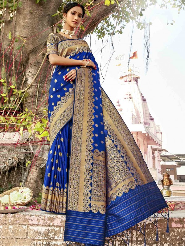 Blue Colour Silk Designer Saree.