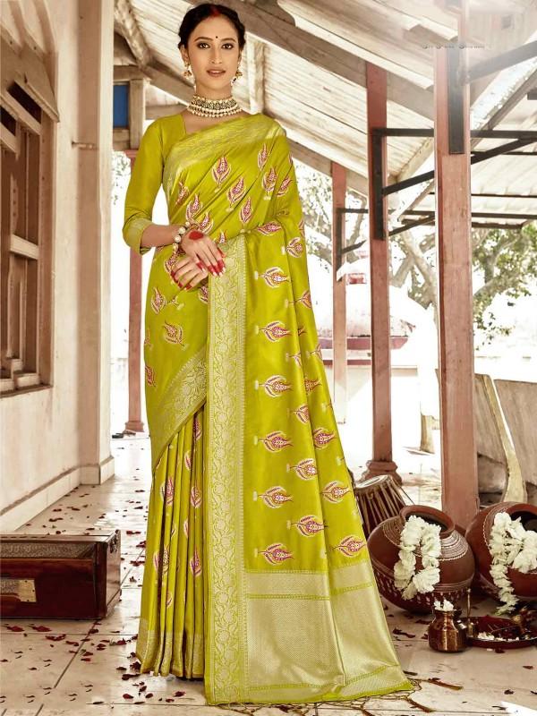 Green Colour Silk Fabric Indian Designer Saree.