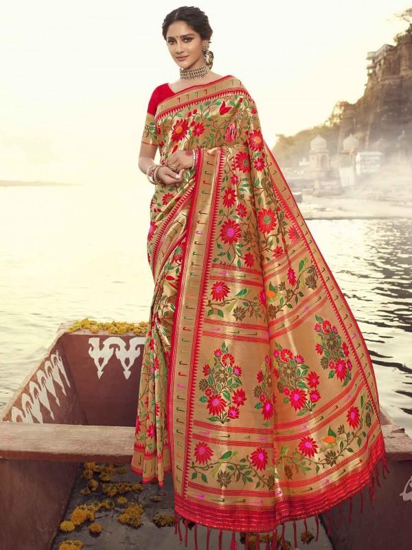 Red Colour Designer Banarasi Silk Saree.