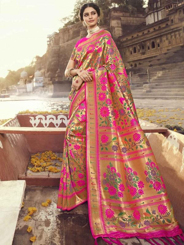 Rani Pink Colour Banarasi Silk Traditional Saree.