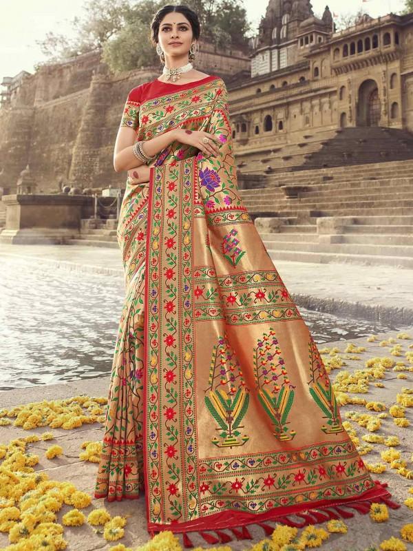 Banarasi Silk Saree Red Colour.