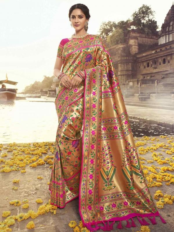 Rani Pink Colour Banarasi Silk Women Saree.