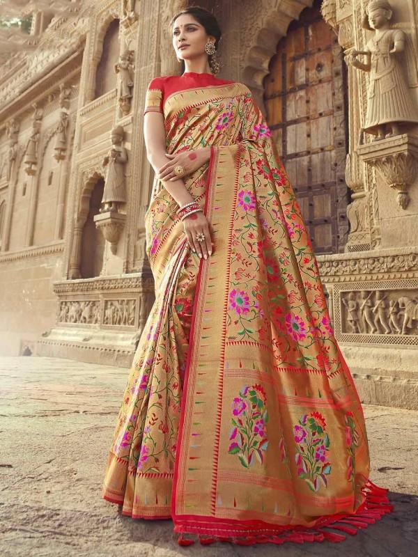 Rani Pink Colour Banarasi Silk Fabric Indian Traditional Saree.