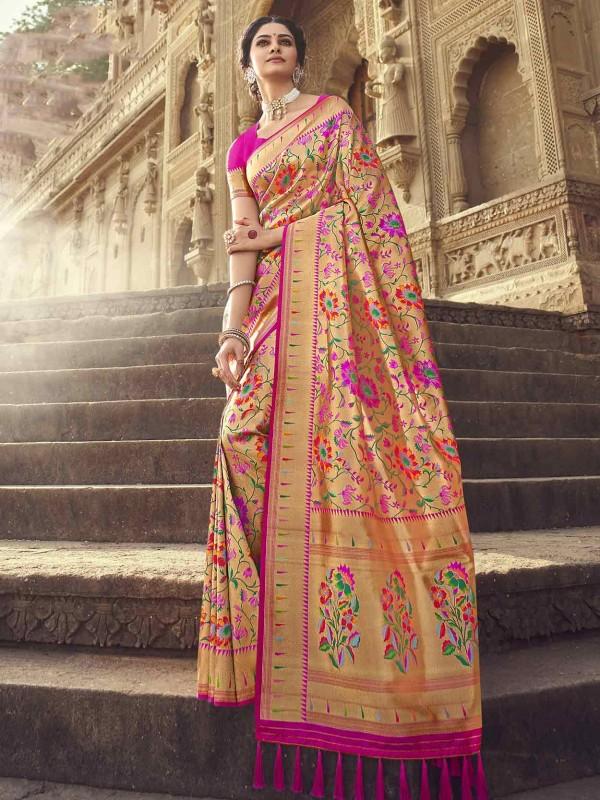 Red Colour Banarasi Silk Fabric Designer Saree.