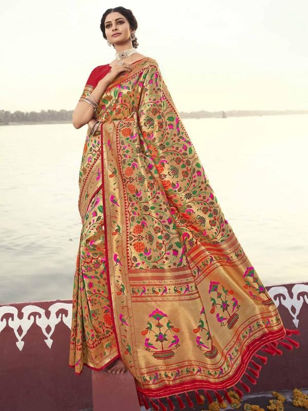 Red Colour Banarasi Silk Fabric Weaving Saree.
