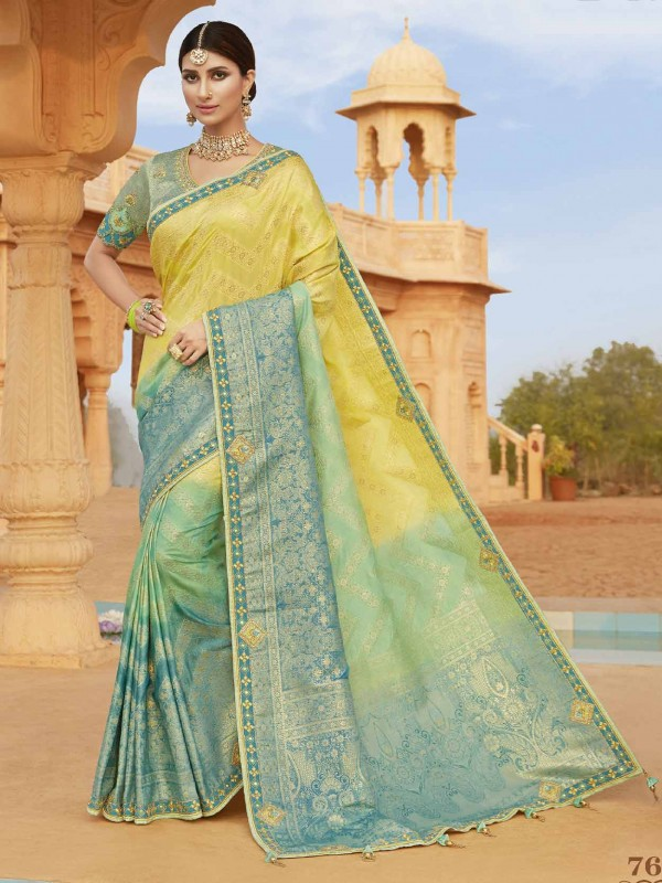 Silk Designer Saree Yellow Colour.