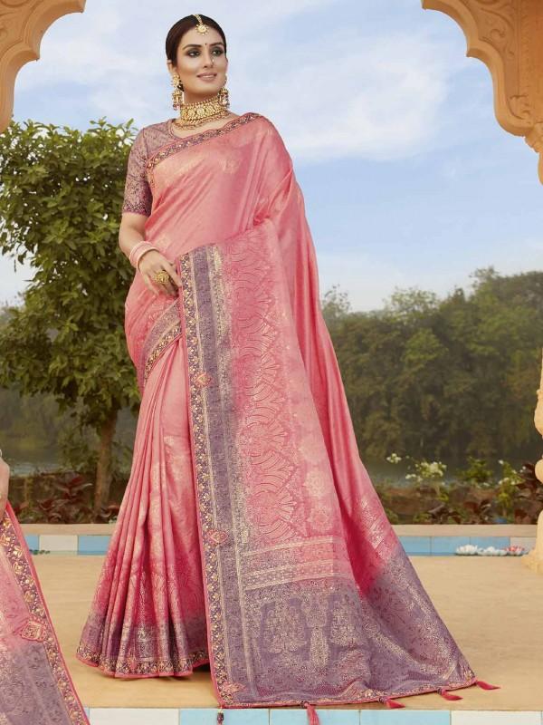 Pink Colour Silk Fabric Indian Designer Saree.