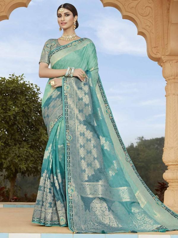Ocean Blue Colour Silk Saree.