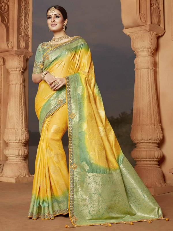 Yellow Colour Silk Indian Designer Saree.
