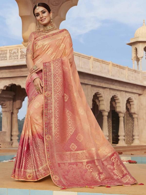 Rust Colour Silk Fabric Indian Traditional Saree.