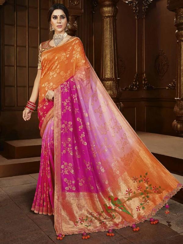 Pink Colour Silk Fabric Designer Bridal Saree.
