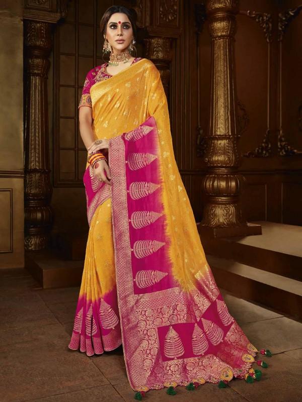Silk Fabric Indian Designer Saree Yellow Colour.