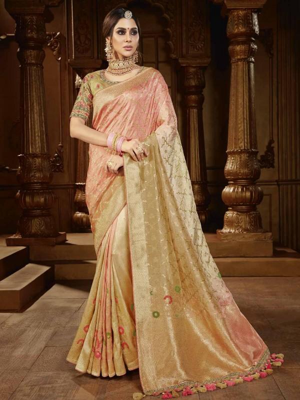 Peach Colour Silk Fabric Indian Designer Saree.
