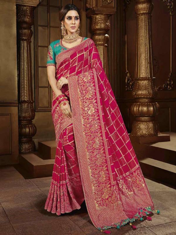 Magenta Colour Silk Fabric Indian Traditional Saree.
