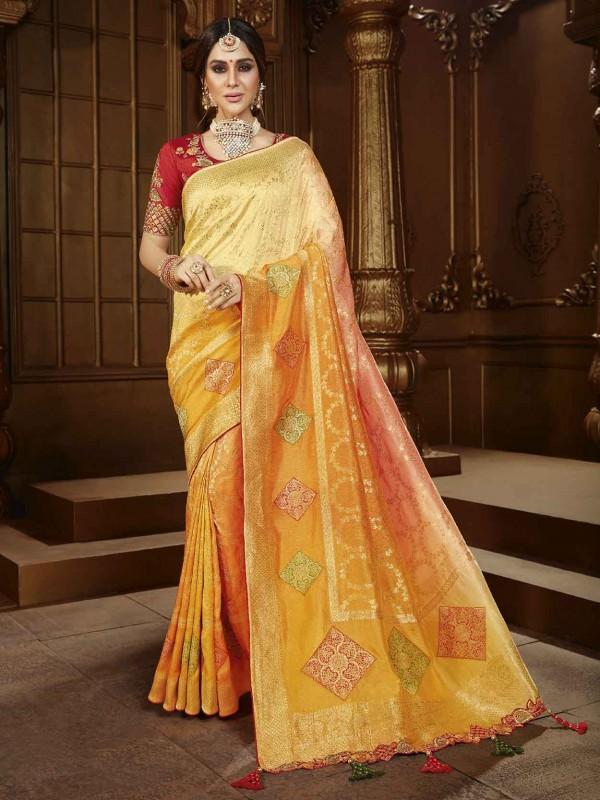 Light Orange Colour Silk Designer Sarees.