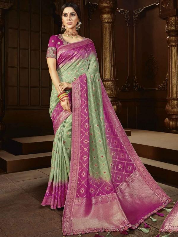 Green,Pink Colour Silk Traditional Saree.
