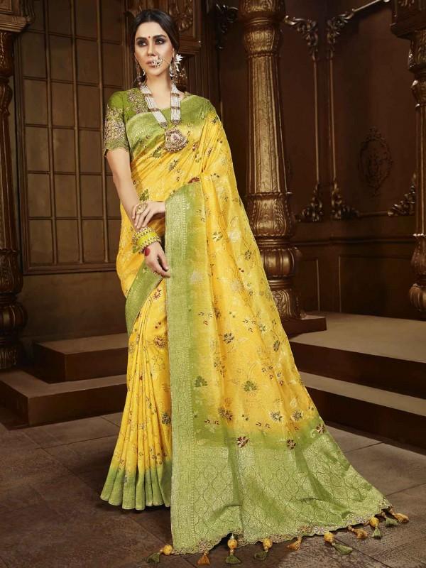 Silk Fabric Indian Traditional Saree Yellow Colour.