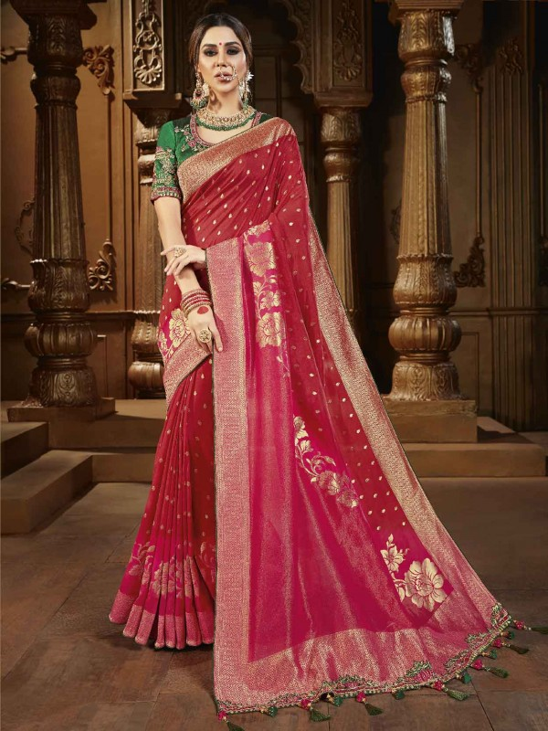 Red Colour Indian Wedding Saree in Silk Fabric.
