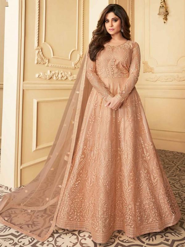 Peach Colour Silk,Net Fabric Designer Salwar Suit.