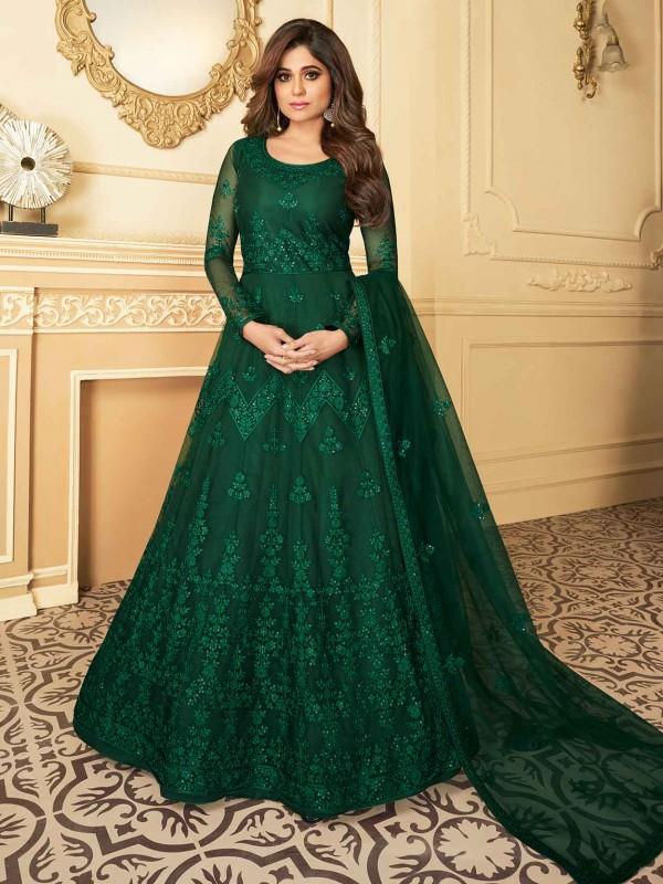 Silk,Net Fabric Bollywood Salwar Suit Green Colour.